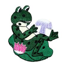 Id 9100 Frog On Lily Pad Patch Toad Stool Sitting Embroidered Iron On Applique