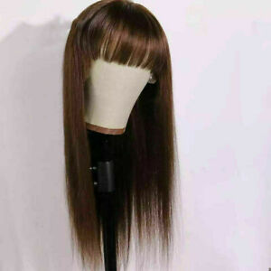Luxury Lace Front Medium Brown Fringe Bangs Full Lace Human Hair Glueless Wig