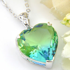 Handmade Huge Heart Rainbow Bi Color Tourmaline Gemstone Silver Necklace Pendant