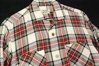 Vintage 50s Mitsukoshi Button Up Plaid Shirt Mens M Rockabilly TOP LOOP Collar