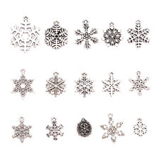 15Pcs Antique Christmas Snowflake Frozen Charms Pendant Jewelry Making Craft FT