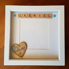 Personalised Photo Box Frame scrabble letters, baby birthday christening Lovely!
