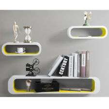 Floating Wall Shelf Shelves Storage Lounge Cube Mounted Display MDF Wood U057 White-yellow