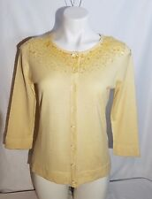 August Silk Sequined Cardigan Yellow Silk Cashmere Blend Size L NWT