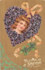 Valentines Greetings Girl Heart Flowers Clovers Antique Postcard (J20302)