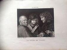 LE LEÇON DE CHANTE gravure original XIX siècle MUSIQUE L. LOTTO
