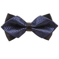 DQT Checkered Navy Blue & Black Diamond Tip Mens Pre-tied Bow Tie