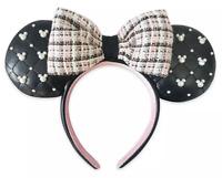Disney Parks Minnie Pearl & Tweed Pink Bow Headband Ears Mickey Icons - NEW