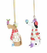 2 x assorted Gisela Graham Dog with Jumper Hanging Christmas Tree Decorations
