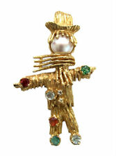 Vintage 60's 14kt Gold & Gemstone Articulated Figural Scarecrow Brooch / Pin