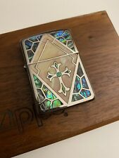 Very Rare Silver and Pearl Armour Case Cross Zippo Lighter. Unused. Mint.
