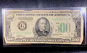 1934 $500 Bill Super Rare U.S. Five Hundred Dollar Note Avg. Condition