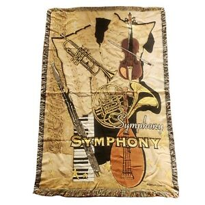 Goodwin Weavers Vintage Tapestry Throw Blanket Symphony Musical  Crown Crafts