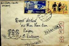 THAILAND SIAM LOVELY HAND PAINTED AIRMAIL COVER WITH LETTER TO VIETNAM