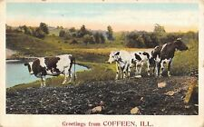 Coffeen Illinois~Cattle Near the Water~Rocky Ford Lake~Greetings~1926 Postcard