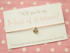 Will You Be My Maid of Honour? Heart Wish Friendship Bracelet & Envelope Pink