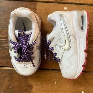Baby Girls Nike Air Max Size 3 White Trainers
