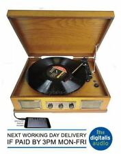 Steepletone Norwich Light Wood Retro 3 Speed Record Player,Radio,Usb Playback