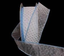 "5 Yards Tiny Metallic Blue Raised Polka Dot White Sheer Wired Ribbon 1 1/2""W"