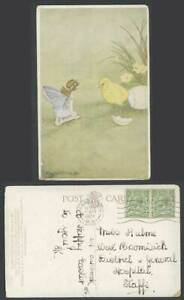 IR & G OUTHWAITE 1934 Old Postcard Chick Bird Egg Fairy - What a Fright She Got!