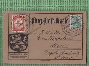 Flugpostkarte,10Pfg Luftpostmarke & 5Pfg Germania Darmstadt nach Stattin (B944)