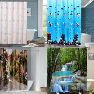 Extra Long Drop 3D Print Landscape Fish Shower Curtain Waterproof Bathroom Decor