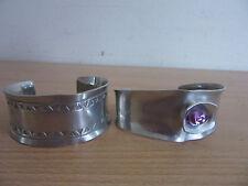 2 Vintage Jorgen Jensen Denmark Pewter Modernist Cuff Bracelets