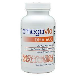 OmegaVia, DHA 600 mg, Ultra-Pure DHA Omega-3 Supplement, 120 Capsules