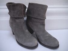 FIORENTINI + BAKER gray suede cuffed top heeled ankle boots Italian size 38.5