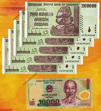 5 x 200 Million Zimbabwe Dollars AA 2008 +10,000 Vietnam Dong Banknotes Currency