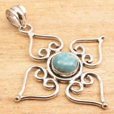 """High End Simulated LARIMAR Gemstone Fashion Pendant 2"""" ! Silver Plated Jewelry"""