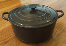 Vintage LE CREUSET France Cast Iron Dutch Oven & Lid, Brown / White Enamel E