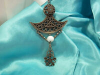 WOW Vintage 1960s Etruscan Pewter & Milk Glass Necklace  1701n