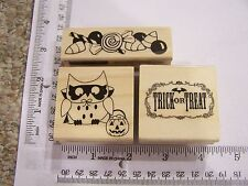WM RUBBER STAMPS HALLOWEEN OWL GOTHIC  TRICK OR TREAT GREETING CANDY CORN BORDER