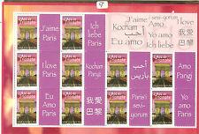 TIMBRES FRANCE PERSONNALISES J'AIME PARIS EN 10 LANGUES FEUILLET 3599 A