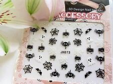 "Halloween 3D Nail Art Stickers Sparkly ""Spider Bat Webs Ghosts"" Silver Black 073"