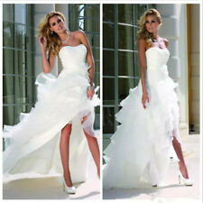 New White/Ivory High Low Beach Wedding Dress Bridal Gown Custom Made 2 4 6 8 +