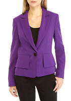 Kasper One-Button Lapel Crepe Jacket Blazer Women Purple Sz 16P NEW NWT 268