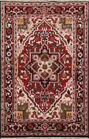 Geometric Indo Heriz Hand-knotted Oriental Area Rug Wool Home Decor 4'x6' Carpet