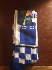 Doctor Who TARDIS Silhouette Checkered Crew Socks NEW