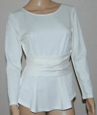 NWT Ann Taylor Off White Ivory Long Sleeve Tie Waist Top Size S