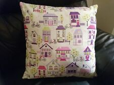 """1 NEW 16"""" PINK PURPLE GREEN HOUSES & BIKES PATTERN CHIC COTTON CUSHION COVER"""