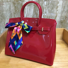 Dark Red ! Women  Metal Buckle Candy Color PVC Jelly Handbag Plastic Tote Bag