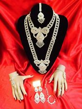 8 Pcs Grand Bollywood Indian Wedding  Bridal Set White Necklace Earrings Tikka