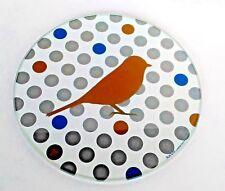 """Glass Trivet Made in France Bird Polka Dot Spring Design Fox Trot Creation 8.5"""""""