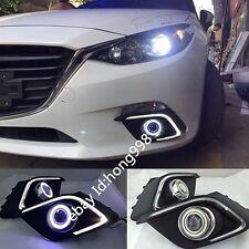 2x White LED Daytime Fog Lights Projector angel eye kit For 2013-2015 Mazda 3