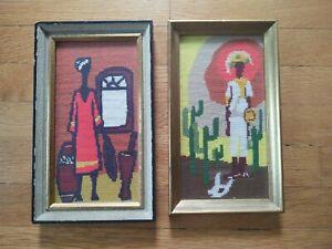 Pair Vtg Mid Century Abstract Modern Needlepoint African Folk Art Wall Hanging