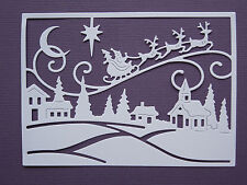 Christmas Village Paper Die Cuts x 4 Scrapbooking Card Topper Embellishment