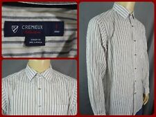 Daniel Cremieux Collection White Striped Btn Front Modern Dress Shirt Mens Lg