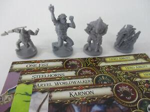 Descent SHARDS OF EVERDARK Lot of 4 HERO Fantasy Miniature Figures & CARDS FFG!!